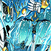 down: manga image of Selece from Magic Knight Rayearth in mecha form, Umi crouched in the same pose on his knee (mecha)