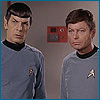 """pantswarrior: Spock and Bones go """"WTF"""". Unsurprisingly, at their captain. (wtf)"""
