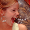 "psyche29: Emma Watson with her head to the side and mouth wide open in a laugh, text ""laugh"" (laugh)"