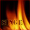 singe: The word Singe with a backdrop of flames. (Iced Tea)