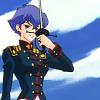 skygiants: Kozue from Revolutionary Girl Utena, in black rose gear, holding her sword (salute)