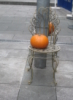 zirconium: photo of pumpkin on wire chair (pumpkin on chair)