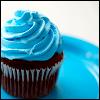 frangipani: a chocolate cupcake with swirly icing on top (blue-tinted blush)