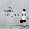 "were_duck: a woman corrects the grammar of graffitti that says ""anarchy forever!"" (anarchy in the library)"