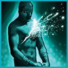 carrie: blindfolded man in aqua with light erupting from a slash in his chest (heartache, gw fomf, i poured my heart out)
