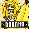 allen: Girl standing with banana, caption 'banana' (banana)
