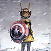 garrideb: The wasp stands in snow, holding Captain America's shield (Wasp shield)