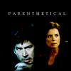 havocthecat: elizabeth weir & john sheppard with the title 'parenthetical' (sga lizzie-john parenthetical)