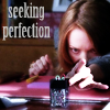 "misqueue: Emma aligning items on her desk w/ text ""seeking perfection"" (glee - emma - perfection)"