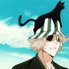 whymzycal: Urahara from Bleach with Yoruichi on his striped hat (urahara cat on his hat)