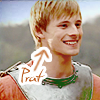 "paraka: Arthur smiling with an arrow pointing at him saying ""prat"" (M-A-Prat)"