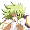 eliyes: Shion hugging a pillow and sulking. (sulky Shion)