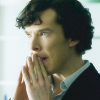 fastidious: Sherlock thinking with his hands compressed against his mouth. (Sherlock - Thinking)