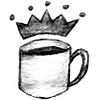 poulpette: A cup of coffee (full) with a crown above it. (TW - King Ianto's coffee)