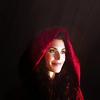 skieswideopen: Red Riding Hood with her hood up on a black background (Once Upon a Time: Red Riding Hood)