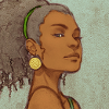 luciazephyr: sketch of a black woman looking slyly sideways, her face sharp and pretty, and her hair pulled back, curls hanging down ([MISC] 3 2 1 lets jam)