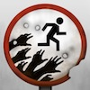 zombiesrun_podfic: sign with zombie hands reaching out for runner (Zombies Run!)