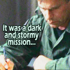 "kerravonsen: Jack O'Neill writing a report: ""It was a dark and stormy mission..."" (writing, Jack-mission)"