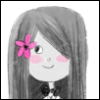 lovelytoken: Original illustration of a girl with long, straight, black hair wearing a black bowtie and pink flower hair accessory. (girl)