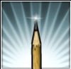scribblescruff: An illustration of a pencil, light glinting off the tip of the lead point. (Pencil)