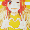 laceblade: Risa of Lovely Complex, contorting thumbs & index fingers into a heart, winking (Love*Com: Risa Heart)