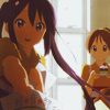 laceblade: Azusa offering piece of paper to the viewer, Ui in background holding cake (K-On: Azusa offer)
