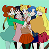 laceblade: fanart of Inner Senshi in street clothes, hugging & smiling (Sailor Moon: inners)