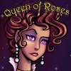 elizabethmccoy: Crowned woman, dubious expression. Text: Queen of Roses (Queen of Roses)