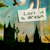 "greg: Fantasy scene with silhouette of a castle, with a small handwritten note saying ""lost in a dream"" superimposed. (Default)"
