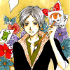 qem_chibati: Natsume holding a paintbrush and pictures of youkai floating around him. (Natsume - Cards)