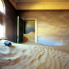 rising: sand like a desert inside a room with a door and a window (the cadre: sand)