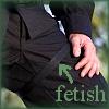 mysteriousaliways: Black-clad thigh with a thigh-strap, caption 'fetish' (Ryan thigh strap fetish)