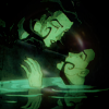 metatxt: orig aeon flux gazes down at her clone emerging from a pool of water (aeon: there are many copies)