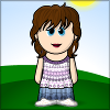 sophie: A cartoon-like representation of a girl standing on a hill, with brown hair, blue eyes, a flowery top, and blue skirt. ☀ (Default)