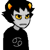 crabbycustomer: Default Karkat -- a grey kid with horns and yellow eyes, a grey Cancer symbol on his black shirt (DEFAULT)
