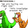 "metatxt: dinosaur comics, METASEXUAL: ""we are having sex right now!"" ""this knowledge arouses me"" (art: metasexual)"