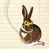 metatxt: brown bunny with yellow bandit mask, a squiggle emerging from white heart of the bunny (art: bandit bunny)