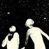 metatxt: two girls, facing away, gaze out at the night sky (art: wonder)