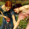 sophinisba: Two young women picking flowers in Waterhouse painting. (Waterhouse girls by caerdroea)