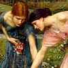 sophinisba: Two young women picking flowers in Waterhouse painting. (Waterhouse girls by caerdroea)
