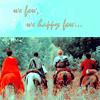 "veleda_k: Gwen, Morgana, Arthur, and Merlin from BBC Merlin. Text says, ""We few, we happy few..."" (Merlin BBC- Group)"
