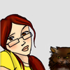 sunspot: girl in a yellow shirt leaning next to a big brown cat (fangirl leen with mclovin) (Default)