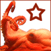 cyprinella: a red octopus on a white background with a red star above it (harry dresden)