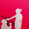 strina: white silhouette of woman holding gun to kneeling man's forehead against a blood splattered pink background - textless (love is a gun)