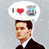 "strina: ianto jones w/ speech bubble displaying ""i (heartshape) (50s-pulp-stylistic robot head)"" (ianto loves robots)"