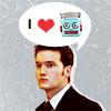 "strina: ianto jones w/ speech bubble displaying ""i (heartshape) (50s-pulp-stylistic robot head)"" (ianto loves robots)"