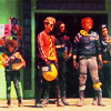 turlough: Killjoys (My Chemical Romance) outside diner, behind the scenes of the Na Na Na video, Sept 2010 ((mcr) eight legs to the wall)
