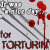 """mortalcity: Blood spatters. And skewers. Text: """"It was a nice day... for torturin'."""" (text 