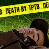 phoenixgatemods: Aiden Ford, lying down with eyes closed. Yellow crime-scene tape saying DEATH BY TPTB. (aiden ford by hsapiens)