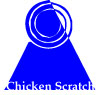 "onyxlynx: Spiral-topped blue triangle, words ""Chicken scratch"" superimposed (Writing-related)"